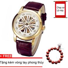 Đồng hồ CƠ nam dây da cao cấp SEWOR SE9877 + Tặng kèm vòng tay phong thủy