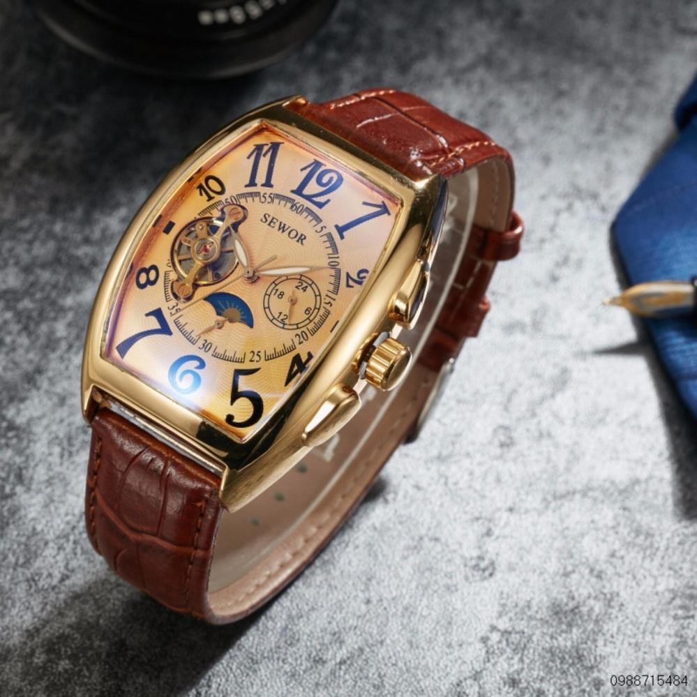 Đồng hồ cơ nam dây da lộ máy SEWOR cổ điển 5 kim MDL-SE02