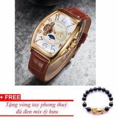 Đồng hồ cơ nam dây da SEWOR lộ máy 5 kim viền vàng TP-SE12 (trắng) – tặng kèm vòng tỳ hưu đen