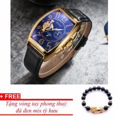 Đồng hồ cơ nam dây da SEWOR lộ máy 5 kim viền vàng TP-SE32 (xanh) – tặng vòng tỳ hưu đen