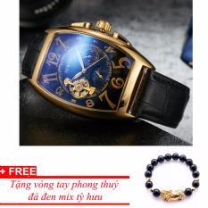 Đồng hồ cơ nam dây da SEWOR lộ máy 5 kim viền vàng TP-SE42 (xanh) – tặng vòng tỳ hưu đen