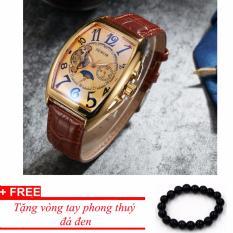 Đồng hồ cơ nam dây da SEWOR lộ máy 5 kim viền vàng TP-SE52 (nâu) – tặng vòng phong thủy