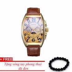 Đồng hồ cơ nam dây da SEWOR lộ máy 5 kim viền vàng TP-SE62 (nâu) – tặng vòng phong thủy