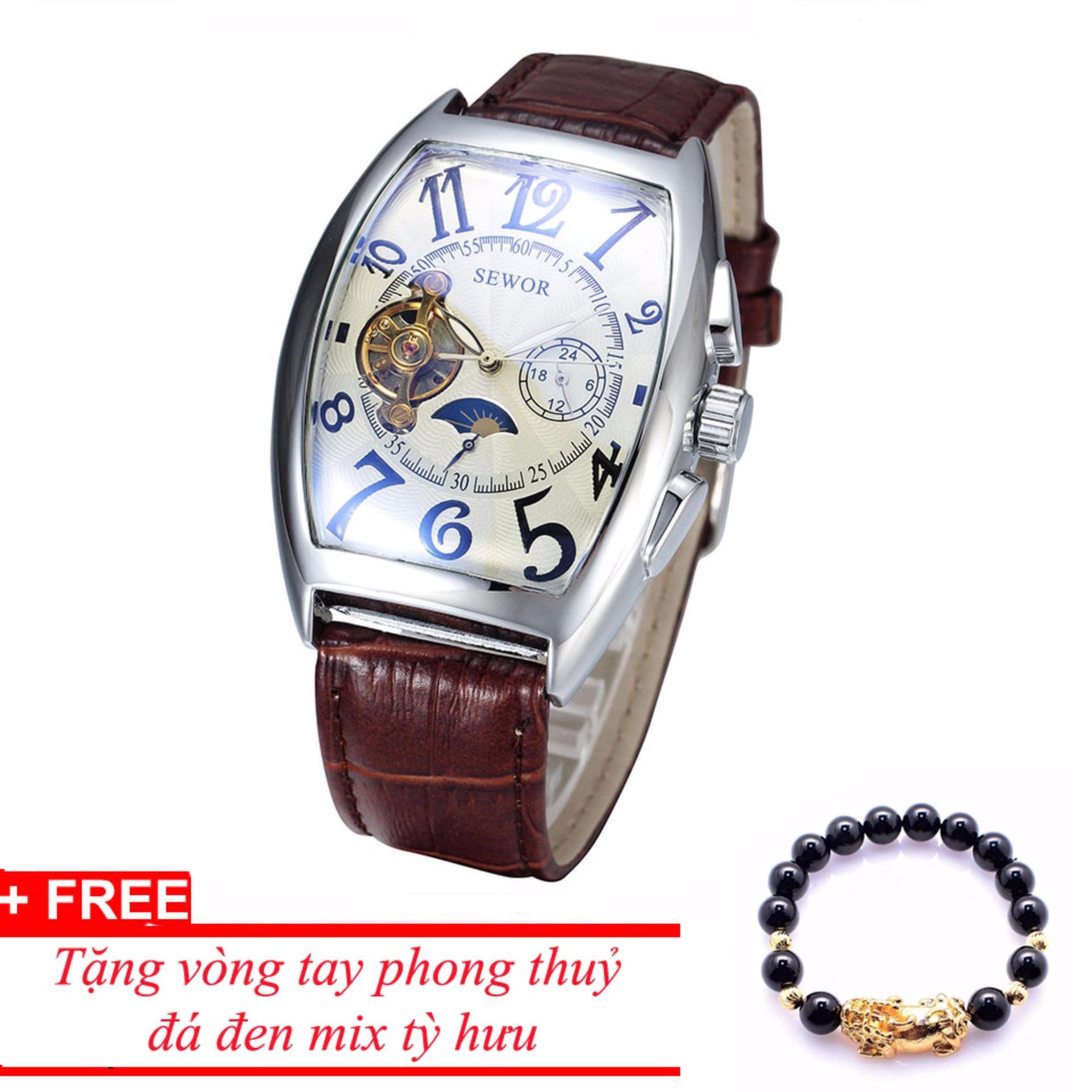 Đồng hồ cơ nam dây da SEWOR lộ máy classic TP-SE11 (trắng) – tặng vòng tay tỳ hưu đen