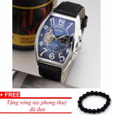 Đồng hồ cơ nam dây da SEWOR lộ máy classic TP-SE31 (xanh) – tặng vòng tay phong thủy đá đen