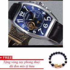 Đồng hồ cơ nam dây da SEWOR lộ máy classic TP-SE41 (xanh) – tặng vòng tay tỳ hưu đen