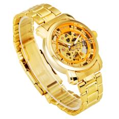 Đồng hồ cơ nam dây kim loại SEWOR lộ máy full gold SW3663 (Vàng)