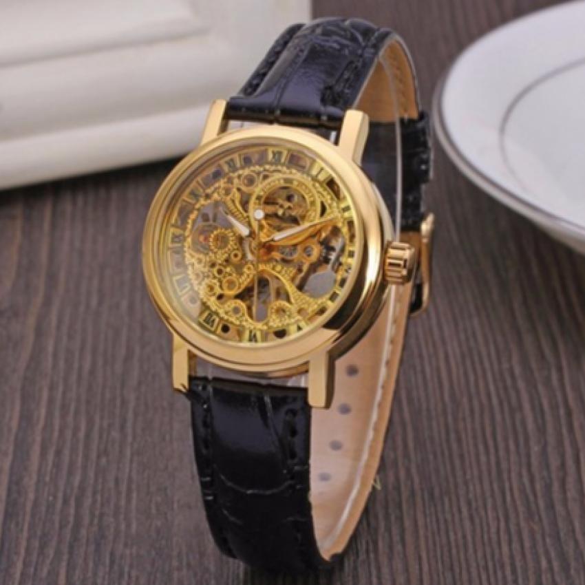 Đồng hồ cơ nam lộ máy dây da WINER WR535 (Dây Đen)