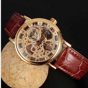 Đồng hồ cơ nam lộ máy Sewor dây da SW2234 (Nâu mặt vàng)