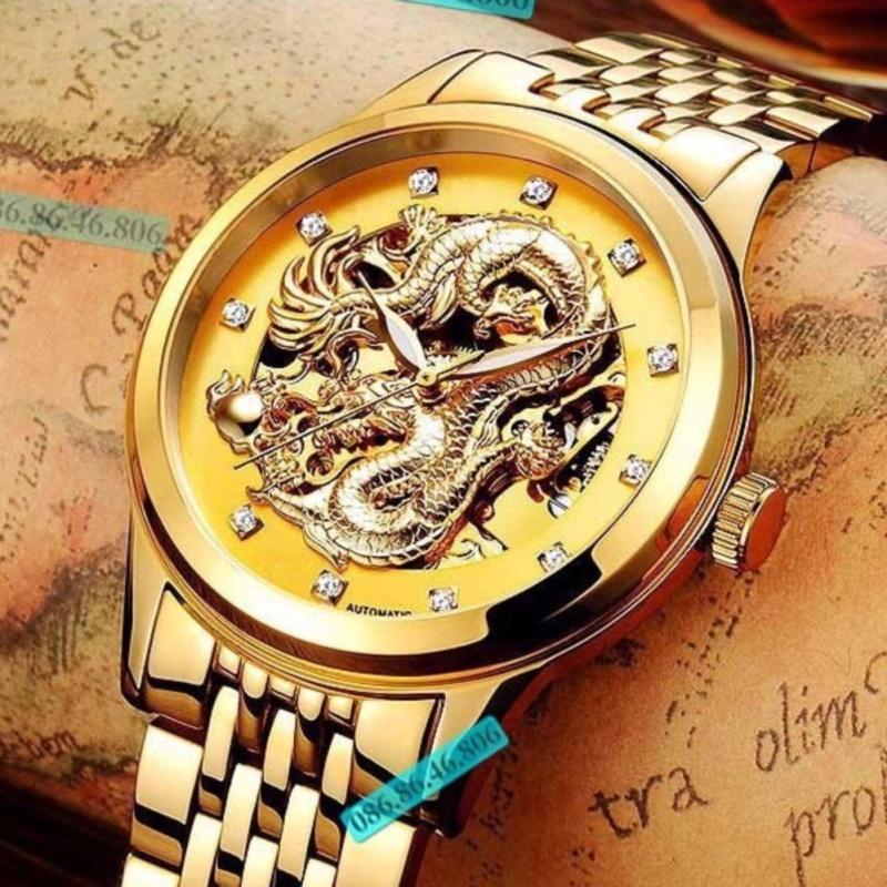 Nơi bán Đồng hồ cơ nam Tevise máy Automatic mặt rồng (Dây demi mặt vàng)