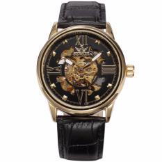 Đồng hồ cơ nam thương hiệu SEWOR chất liệu dây da lộ máy,số la mã cá tính
