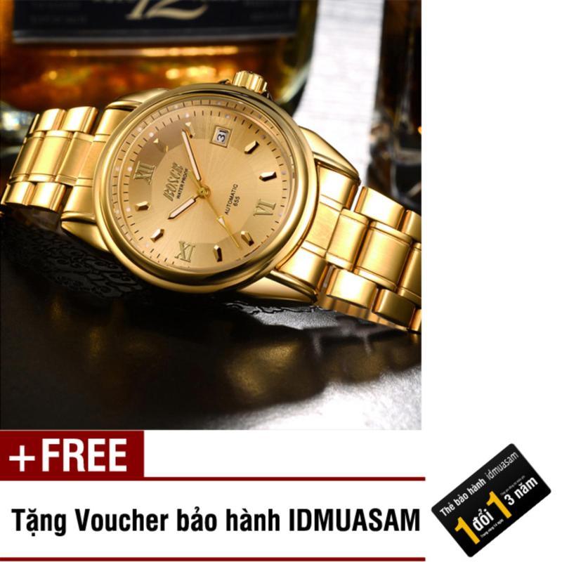 Nơi bán Đồng hồ cơ tự động dây thép không gỉ Bosck 5771 (Mặt vàng) + Tặng kèm voucher bảo hành IDMUASAM