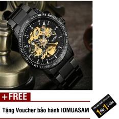 Đồng hồ cơ tự động dây thép không gỉ Nary 6092 (Mặt đen) + Tặng kèm voucher bảo hành IDMUASAM
