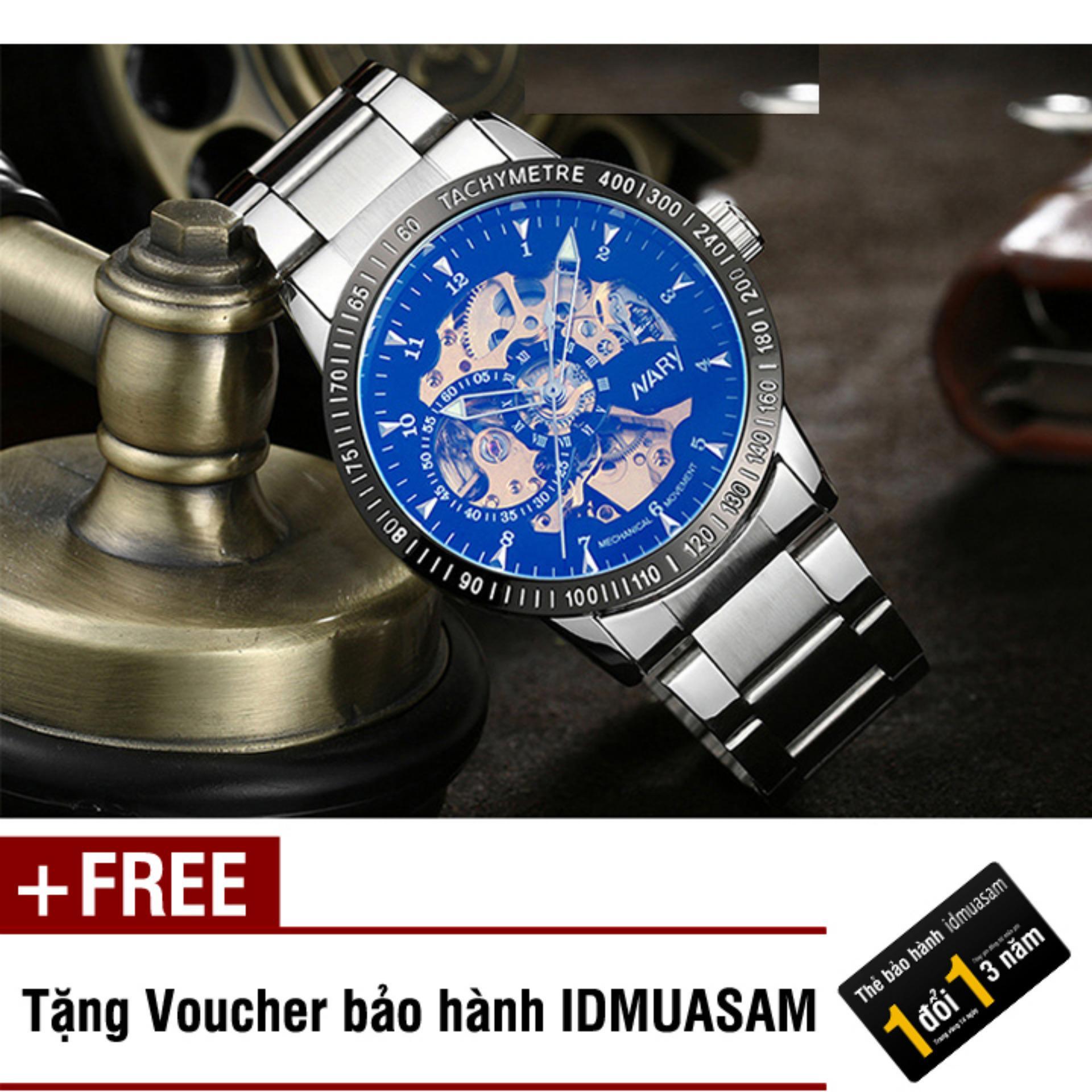 Đồng hồ cơ tự động dây thép không gỉ Nary 6093 (Mặt đen ánh xanh) + Tặng kèm voucher bảo hành IDMUASAM