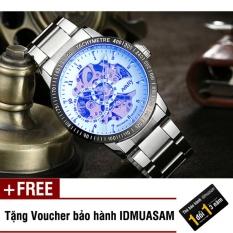 Đồng hồ cơ tự động dây thép không gỉ Nary 6094 (Mặt trắng ánh xanh) + Tặng kèm voucher bảo hành IDMUASAM