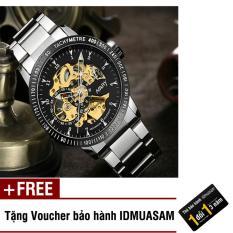 Đồng hồ cơ tự động dây thép không gỉ Nary 6096 (Dây trắng mặt đen) + Tặng kèm voucher bảo hành IDMUASAM