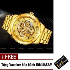 Đồng hồ cơ tự động dây thép không rỉ mặt rồng Bosck S1181 (Dây vàng mặt vàng) + Tặng kèm voucher bảo hành IDMUASAM