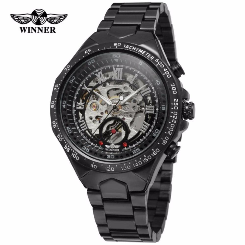 Đồng hồ nam Winner TM432 cơ lộ máy đính đá dây thép không gỉ (Full đen)