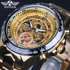 Đánh Giá Đồng hồ nam Winner TM432 cơ lộ máy đính đá dây thép không gỉ (Vàng)