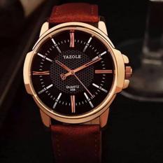 Đồng hồ dây da nam chống nước Yazole 358 (nâu mặt đen) KG874