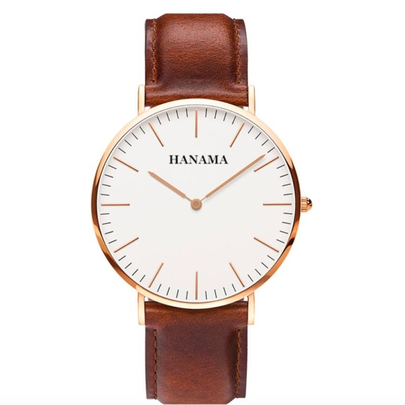 Nơi bán Đồng hồ dây da nam HAMAMA WL01 (Nâu)