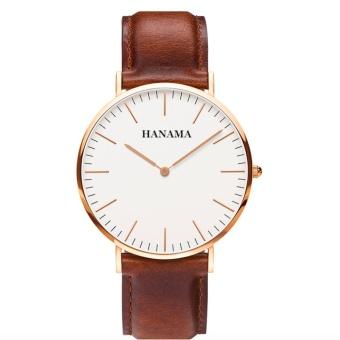 Đồng hồ dây da nam HAMAMA WL01 (Nâu)