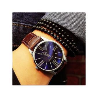 Đồng hồ dây da nam sang trọng mạnh mẻ + Tặng hộp sang trọng F227 (Nâu)