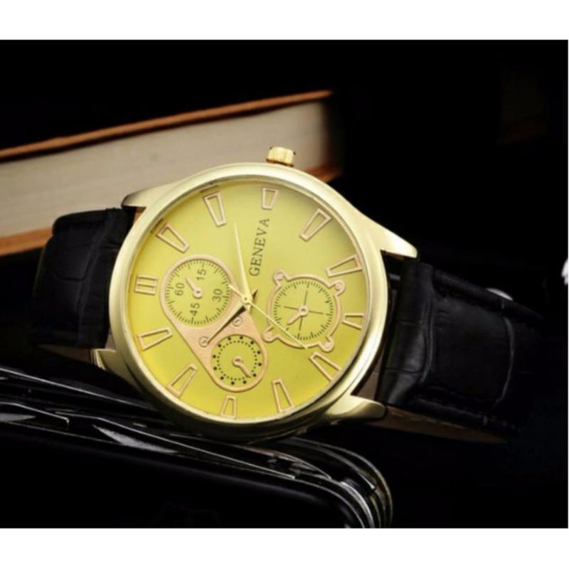 Nơi bán Đồng hồ dây da nam thời trang Geneva wlq01( vàng)