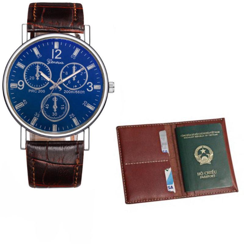 Nơi bán Đồng hồ dây da nam thời trang và ví da passport 038 ( Xanh Đen )