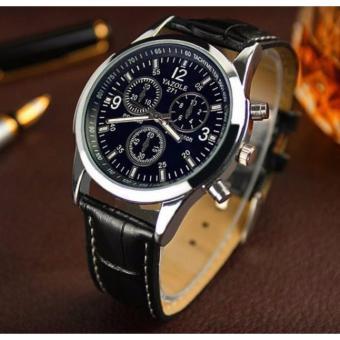 Đồng hồ dây da nam Yazole 271 chống nước, chống xước (dây đen, mặt đen)