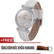 Đồng hồ dây da nữ chống nước skmei 9075 tặng kèm móc khóa da