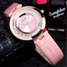 Đồng hồ dây da thời trang Guou ST-Gu0617 (hồng), tặng bông tai cành hoa mai