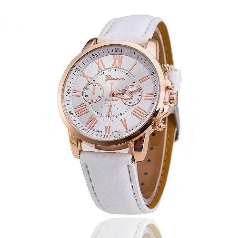 Nơi bán Đồng hồ dây da tổng hợp Geneva PA01(Trắng)