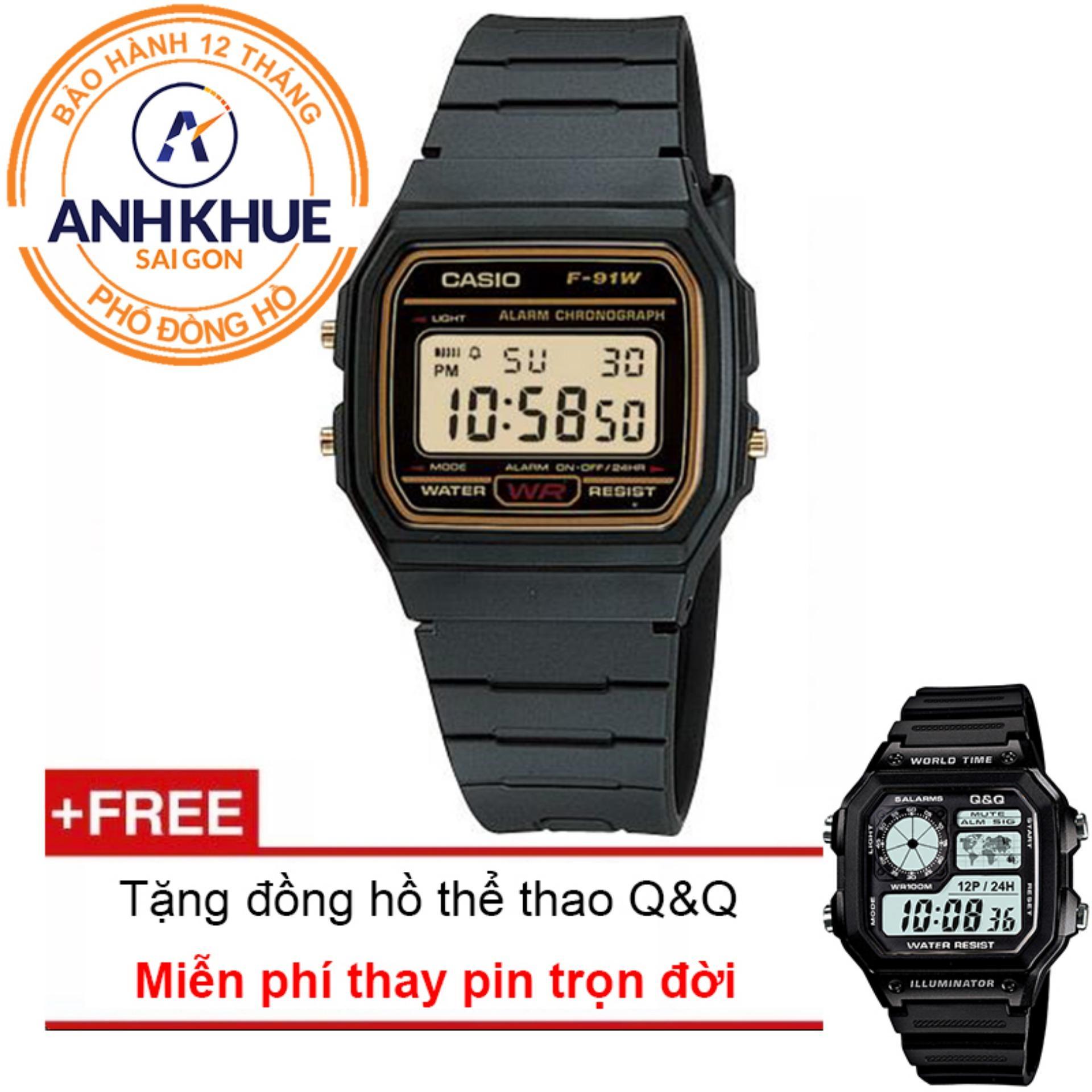 Đồng hồ dây nhựa huyền thoại Casio Anh Khuê F-91WG-9QDF + Tặng đồng hồ thể thao Q&Q