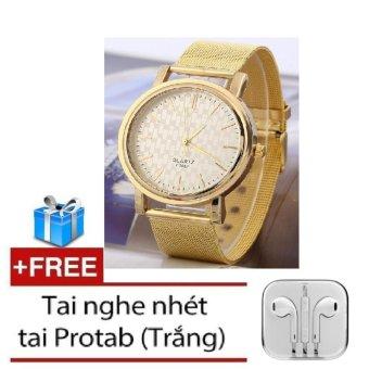 Đồng hồ dây thép không gỉ Gold WHL-01 (Vàng) + Tặng tai nghe nhéttai (Gold)
