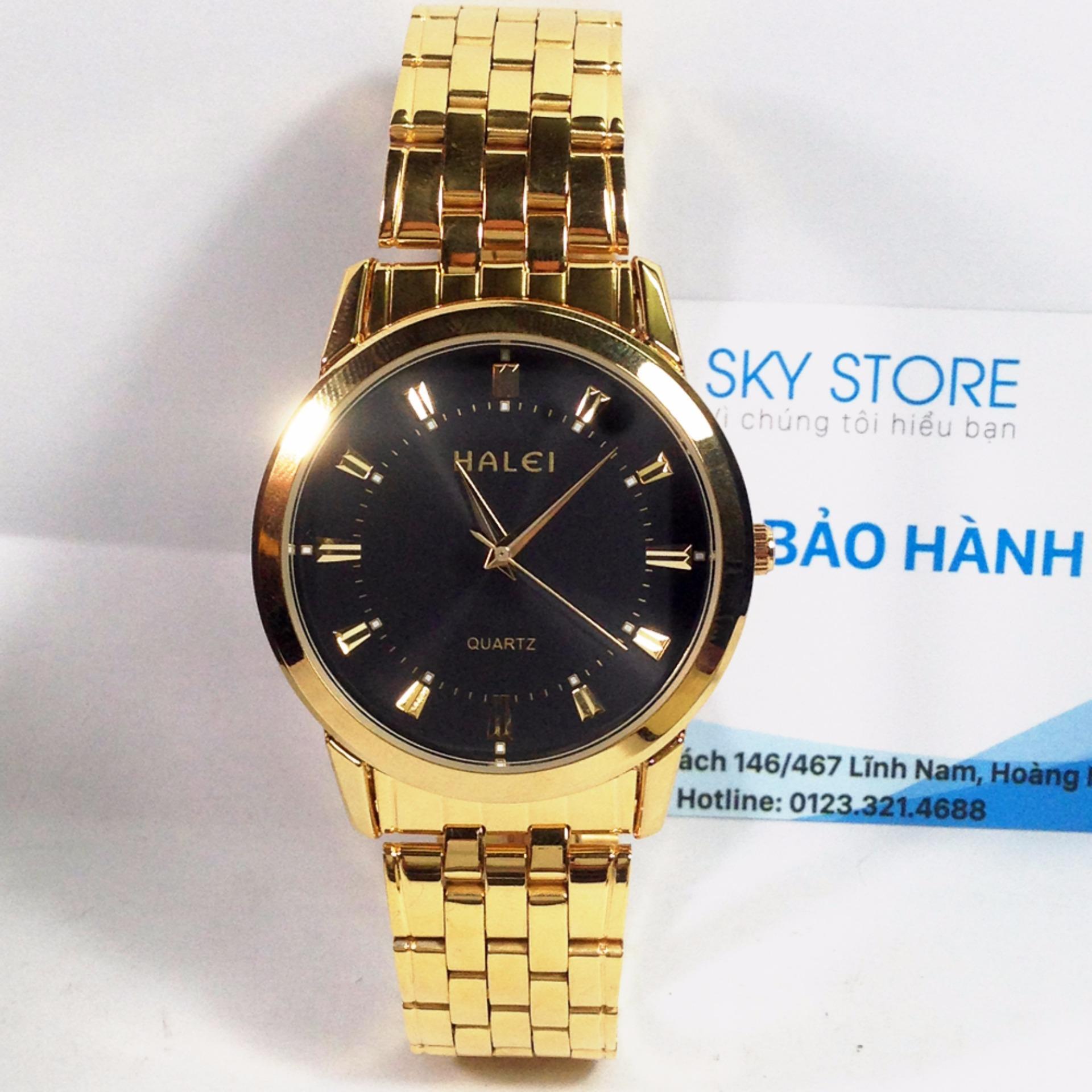 Đồng hồ dây thép không gỉ HALEI HA1395A ( Mặt đen dây vàng )