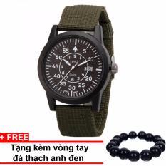 Đồng hồ dây vải SINO JAPAN MOVT Si8868 (Xanh) + Tặng kèm vòng tay thạch anh đen