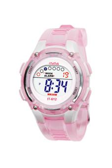Đồng hồ đeo tay chống nước kỹ thuật số dành cho bơi lội của trẻ em màu hồng