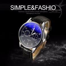 Đồng hồ đeo tay nam dây da phong cách trẻ HQHicon – DHNDD Dây đen, mặt đen – 001
