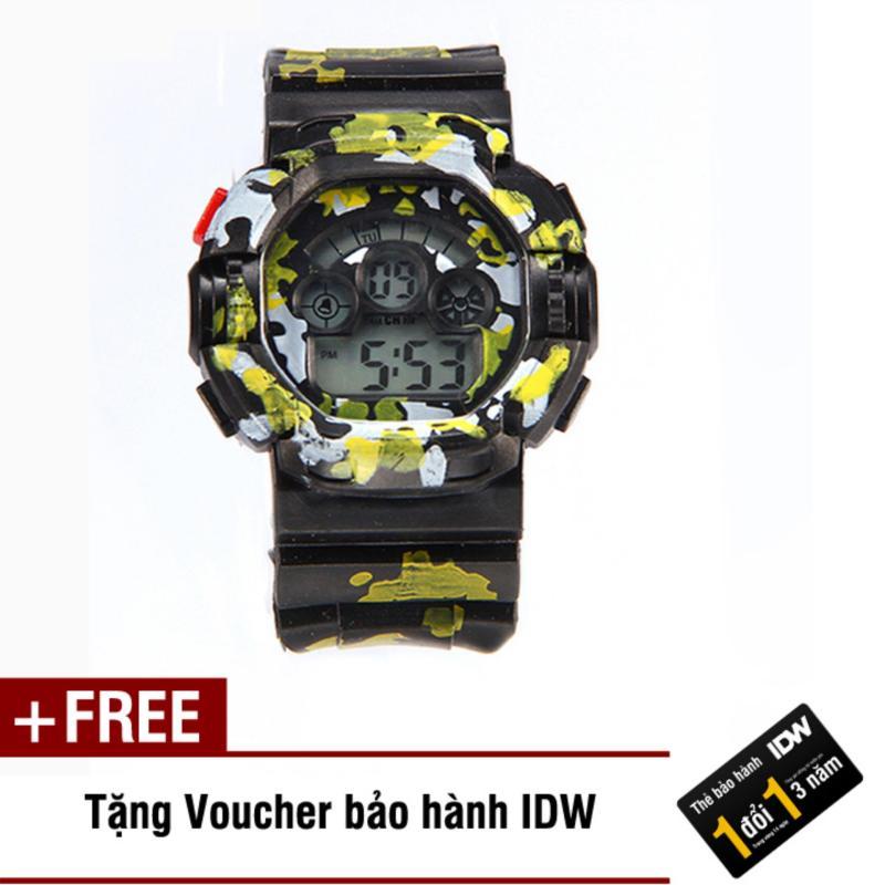 Đồng hồ điện tử trẻ em IDW S0841 (Đen rằn xanh lá) + Tặng kèm voucher bảo hành IDW bán chạy