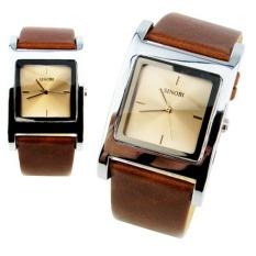 Đồng hồ đôi dây da Sinobi S9155G (Nâu Trắng)