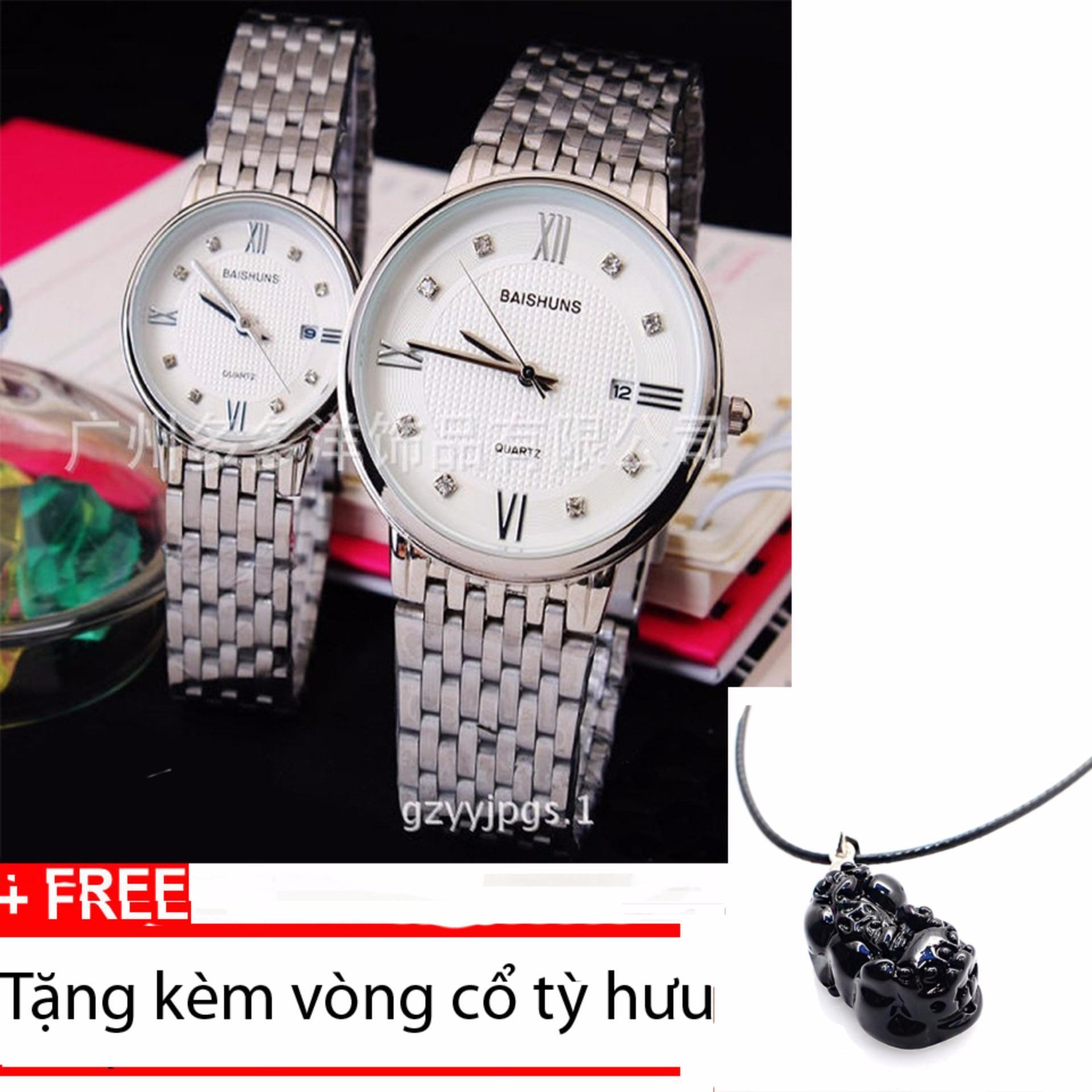 Đồng hồ ĐÔI dây inox cao cấp BAISHUNS DBA98 +Tặng kèm vòng cổ tỳ hưu