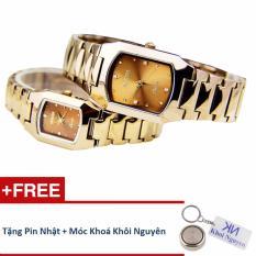 Đồng hồ đôi dây thép không gỉ Sinobi 35KCN82 (Vàng) + Tặng pin nhật và móc khoá