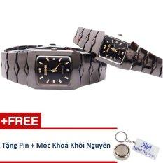 Đồng hồ đôi dây thép không gỉ Sinobi 91KN48 (Vạch Vàng) + Tặng pin và móc khoá KN.
