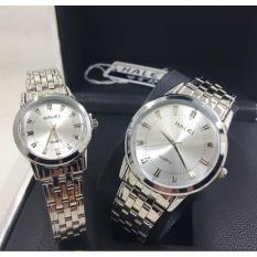 Cặp Đồng hồ Halei nam nữ cao cấp chống xước, chống nước tuyệt đối (Giá 1 đôi) dây trắng mặt trắng