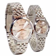Đồng hồ đôi nam nữ dây thép không gỉ cao cấp thương hiệu HALEI 502M