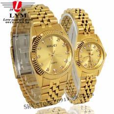 Đồng hồ đôi nam nữ dây thép mạ vàng cao cấp thời trang HALEI 356M (vàng)