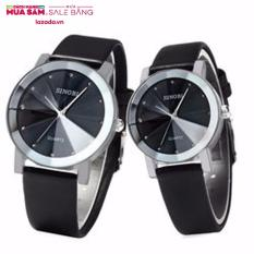 Đồng hồ đôi phong cách trẻ trung,cá tính SINOBI dây da mặt 3D (Đen) – tặng vòng thạch anh