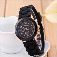 Đồng hồ Geneva dây cao su Thời trang Alowatch (Đen)