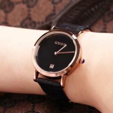 Đồng hồ Guou nữ Hàn Quốc cao cấp (Dây Đen, Mặt Đen) – TimeZone